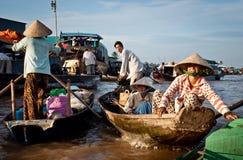Delta e浮动的市场湄公河Th 免版税库存照片