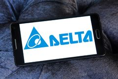 Delta Electronics company logo. Logo of Delta Electronics company on samsung mobile. it is one of the world`s leading producer of power supplies, electronic Stock Photos