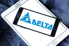 Delta Electronics company logo. Logo of Delta Electronics company on samsung mobile. it is one of the world`s leading producer of power supplies, electronic Royalty Free Stock Image