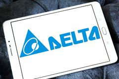 Delta Electronics company logo. Logo of Delta Electronics company on samsung tablet. it is one of the world`s leading producer of power supplies, electronic royalty free stock photography
