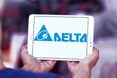 Delta Electronics company logo. Logo of Delta Electronics company on samsung tablet . it is one of the world`s leading producer of power supplies, electronic stock photos