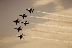 Delta Formation. F-16 Thunderbirds flying in diamond formation stock images
