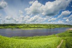 Delta hermoso del río del paisaje con los prados y el bosque en un día soleado fotografía de archivo