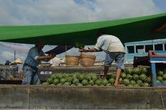 Delta het Drijven van Vietnam - Mekong Markt Cai Rang stock foto