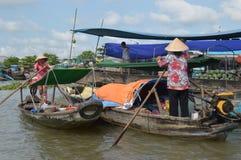 Delta het Drijven van Vietnam - Mekong Markt Cai Rang stock fotografie