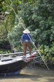 Delta het waterarbeider van Vietnam Mekong Stock Foto's