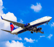 Delta Jet Flaps Down. A Delta Airlines jet with its flaps in the down position for landing Stock Images