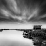 Delta of Loudias with fisherman`s hut stock images