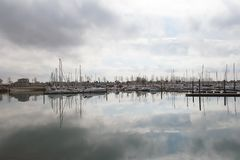 Delta Marina a harbour near the Oosterschelde, Northsee. Harbor near Oosterschelde named Delta Marina. Location is in Province Zeeland, a part of the Netherlands royalty free stock photos