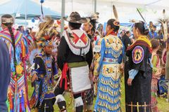 Delta Park Annual Pow Wow in Portland, Oregon. Portland, Oregon USA - June 14, 2014: A gathering of Native American Indians wearing full regalia at the annual royalty free stock photo