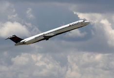 Delta plane flying Royalty Free Stock Image
