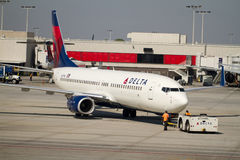 Delta plane pushed from gate Stock Image