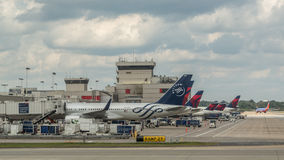 Delta planes in Atlanta Airport Stock Photography