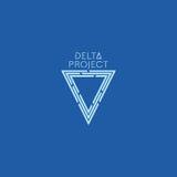 Delta projekta projekt Błękitny koloru logo z tłem Zdjęcie Royalty Free