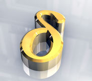 Delta symbol in gold (3d) Royalty Free Stock Image