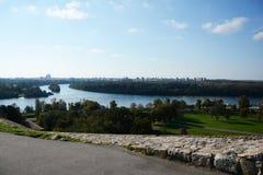 Delta van rivier Sava in de rivier van Donau Royalty-vrije Stock Afbeeldingen