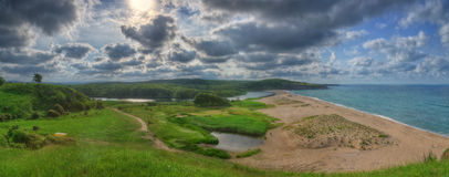 The delta of Veleka river, Bulgaria - panorama. The delta of Veleka river, Bulgaria. Photography was taken near firth of Veleka river where it flows into the Stock Photo