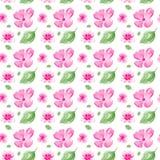 Άνευ ραφής σχέδιο με τα λουλούδια και τα φύλλα ελεύθερη απεικόνιση δικαιώματος