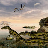 Deltadromeus Dinosaurs Royalty Free Stock Images