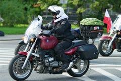 Deltagare av den 14th internationella motorcykeln Katyn samlar Arkivbilder