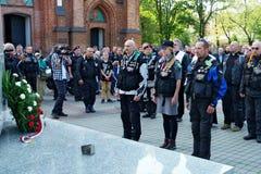 Deltagare av den 14th internationella motorcykeln Katyn samlar Arkivfoton