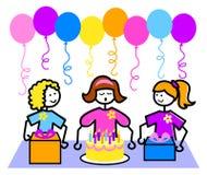 deltagare för flicka för födelsedagtecknad filmeps royaltyfri illustrationer