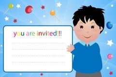 deltagare för pojkekortinbjudan Arkivbild
