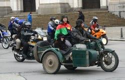 Deltagare i motorcykelprocessionen på 28 marsch 2015, Sofia, Bulgarien Royaltyfria Bilder