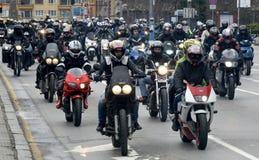 Deltagare i motorcykelprocessionen på 28 marsch 2015, Sofia, Bulgarien Royaltyfri Bild