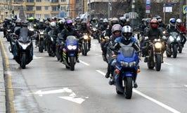 Deltagare i motorcykelprocessionen på 28 marsch 2015, Sofia, Bulgarien Royaltyfri Fotografi