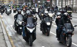 Deltagare i motorcykelprocessionen på 28 marsch 2015, Sofia, Bulgarien Arkivbild