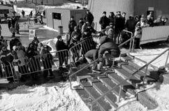 Deltagare i snowboarding Arkivfoton