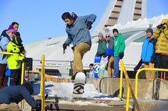 Deltagare i snowboarding Arkivbilder