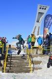Deltagare i snowboarding Fotografering för Bildbyråer