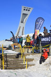 Deltagare i snowboarding Royaltyfri Bild