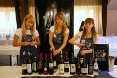 Deltagare och besökare till affärsutställningen av producenter och leverantörer av italienska viner och mat vinitaly Arkivbild