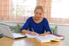 Deltagare som studerar för henne grad Royaltyfria Bilder