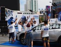 Deltagare till Subaru gömma i handflatan utmaningen 2018 arkivbilder