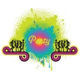 Deltagarebaner med färgstänk och silhouettes Royaltyfri Bild