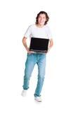 Deltagaren kör med bärbar dator Arkivfoto