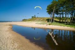 Deltaplaning in het strand royalty-vrije stock fotografie
