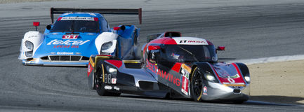 DeltaWing leads Riley prototype. Monterey California, May 4, 2014, Laguna Seca Monterey Grand Prix, the DeltaWing Racing Cars prototype leads the Ganassi Racing Stock Images