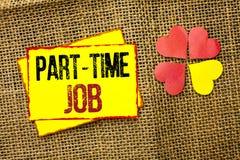 Deltids- jobb för ordhandstiltext Affärsidéen för att arbeta några timmar per begränsat tillfälligt arbete för dagen skiftar skri Royaltyfri Bild