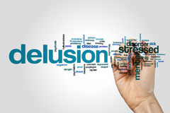 Delusion word cloud on grey background.  stock photo