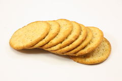 Deluxe Crackers. Deluxe tasty crackers on a white background Stock Photos