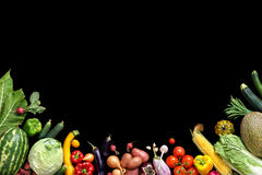 Deluxe food background. Food photography different fruits and vegetables. Isolated black background. Copy space. High resolution product royalty free stock images