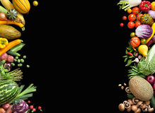 Deluxe food background. Food photography different fruits and vegetables. Isolated black background. Copy space. High resolution product stock image