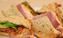 Deluxe ham cheese club sandwich Royalty Free Stock Images