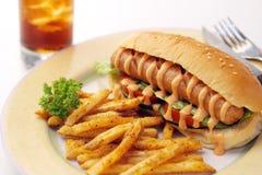 deluxe hotdog Fotografering för Bildbyråer
