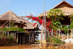 Deluxe hotel on Inle Lake, Myanmar. Deluxe hotel situated on the waters of InleLake with captivating view of the beautiful Inle Lake where water and mountains royalty free stock photos